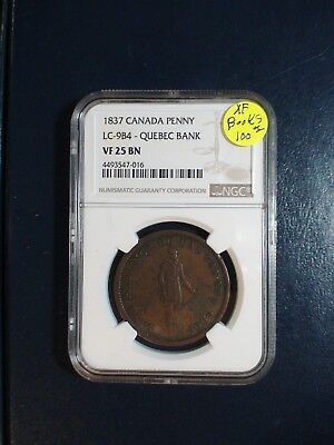 1837 Canada Penny NGC VF25 BN LC-9B4 QUEBEC BANK 1C TOKEN Coin PRICED TO SELL!