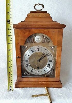 Elliott Mantel Clock Shelf Walnut Burl 8 Day Whittington Westminster Auto Silent