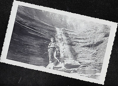 Antique Vintage Photograph Mom w/ Two Little Boys on Cliff by Small Waterfall