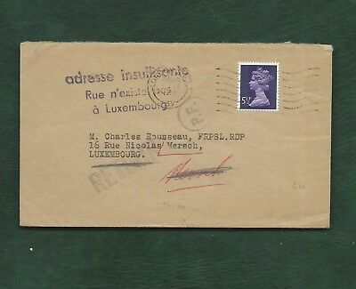 GB to Luxembourg 1974 cover returned as undeliverable