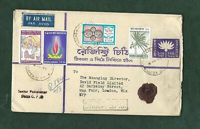 Bangladesh 1974 registered cover with 5 stamps to London