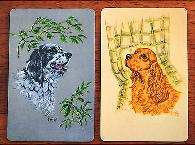Dog- Spaniels -Artist Gladys Emmerson  Cook - Vintage Swap Playing Card Pair