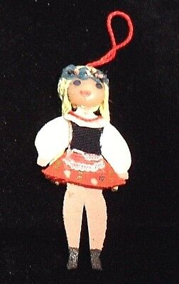 Blonde Girl w/traditional Polish folk costume -- Hanging Ornament made in Poland