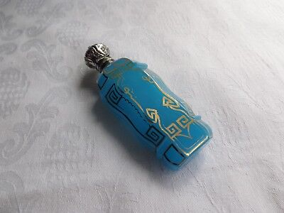 Antique Turquoise Opaline Glass Perfume Bottle With Continental Silver Top