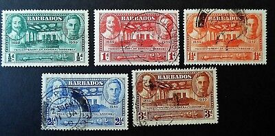 Barbados 1939  KGVI Tercentenary of General Assembly Five Values Complete