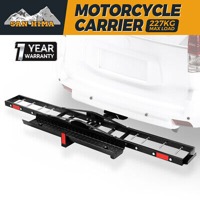 SAN HIMA Steel Motorcycle Carrier Motorbike Rack Dirt Bike Ramp 2″ Towbar Steel