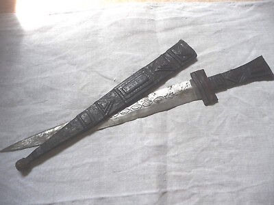 Antique TUAREG Sword with Embossed Leather Scabbard