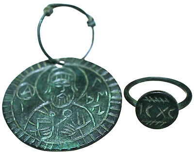 Byzantine Bronze Icon Pendant & Byzantine Bronze Seal Ring Set