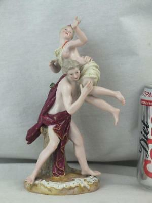 Unusual 19Th C Meissen Semi Clad Man And Women Figure Group - Marked