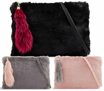New Ladies Fluffy Fur Pouch Bridal Wedding Party Womens Fashion Clutch Bag