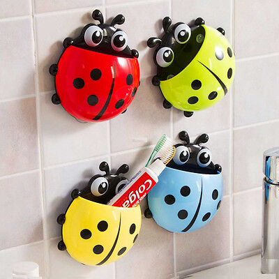 Hot!Neu Cute Cartoon Sucker Toothbrush Holder Ladybug Bathroom Set Zahnbürste