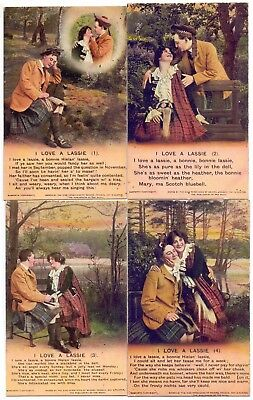 Bamforth Set of 4 Song Cards,Series 4833,I Love a Lassie   (BC)
