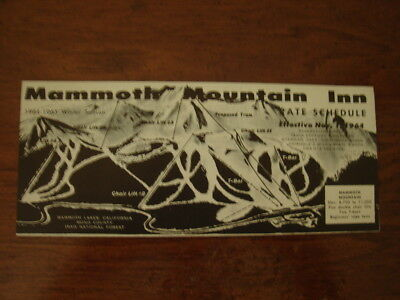 Old 1964 Mammoth Mountain Inn Ski Resort Room & Chair Lift Rates Brochure Ca