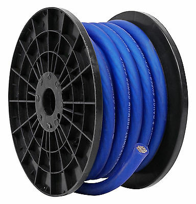 Rockville R0G30BLUE 0 Gauge 30 Foot Spool Blue Car Amp Power+Ground Wire Cable
