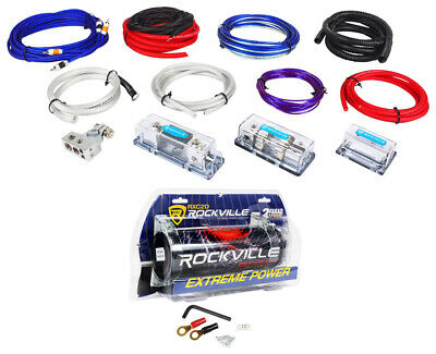 Rockville RDA4+8K Dual 4/8 AWG  Multi-Amp True Gauge Wire Kit+2 Farad Capacitor