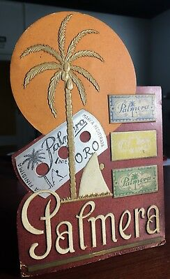 Antiguo DISPLAY HOJAS DE AFEITAR PALMERA. Carton con relieve, encantador