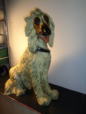 """Rare Vintage Afghan Hound Dog Life Size Statue  Signed Marwal (27 by 22 by 14"""")"""