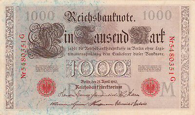 1000 Mark Aunc Crispy  Banknote From Germany 1910!pick-44