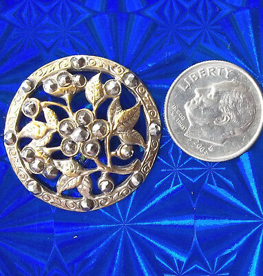 "Brass, CUT STEEL BUTTON, 1.1/8"", vintage antique victorian, leaves & flowers lg"
