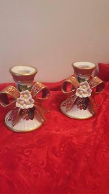 Pr Fitz Floyd Christmas Ribbon Bow Holly Pine Flowers Candlestick Candle Holders