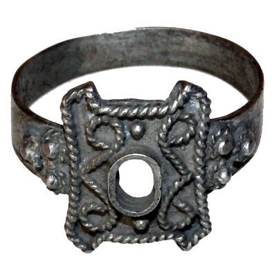 Intact Late Post Medieval Decorated Silver Ring