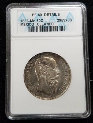 1866 Mo 50C Empire of Maximilian Silver Coin  KM# 387-ANACS Holder- 2959788 J3E