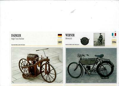 18 Prototype & Special Motorcycle Photograph & Spec Cards 1885 - 1991