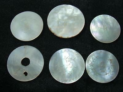 6 x ANTIQUE 19th C ENGRAVED MOTHER OF PEARL CHINESE GAMING COUNTERS - LOT 20