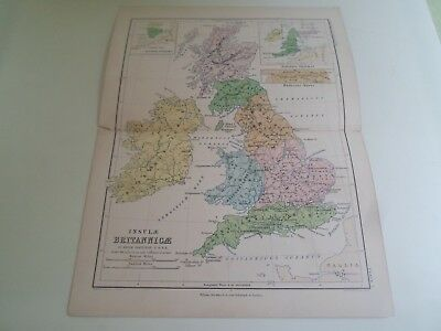 Map 1870 INSULAE BRITANNICAE By Keith Johnston (Plate 7 Classical Geography)