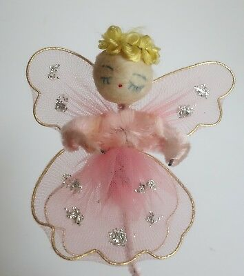 Vintage Spun Cotton Angel Pink Tulle Netting Pipe Cleaner Christmas Package Tie
