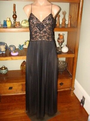 """Ladies/Women's Vintage Lily of France Long Nylon Nightgown - Bust to 36"""" - Black"""