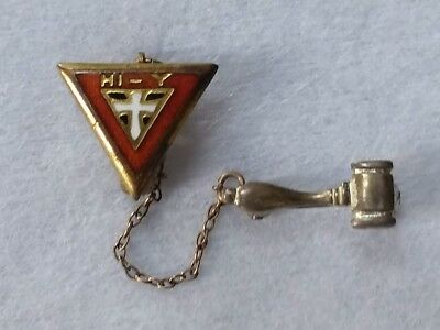 Vtg Lapel Sweater Red Enameled Cross YMCA HI-Y w/ Silver Gavel 2PC Chain Pins