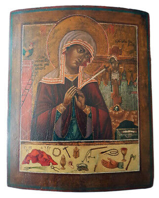 RARE! Antique 19th C Russian Icon of The  Mother Of God Weeping at the Cross
