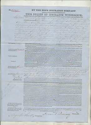 "1850 Insurance Policy Hope Insurance Company Boston For Ship ""ann Maria"""