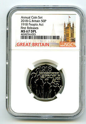 2018 Great Britain 50P Ngc Ms67 Dpl 1918 People Act Annual First Releases Rare