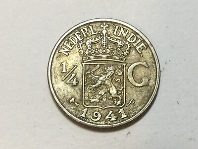 NETHERLANDS INDIES 1944-P 1/4 Gulden silver coin very nice condition