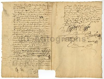 17th Century France 1608 Manuscript Document w/ Old Time Dealer Hand Written ID