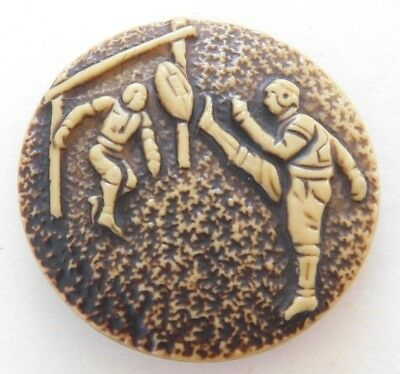"""Vintage Fab Collectible 1.7/8"""" One Piece Buffed Celluloid Football Button"""