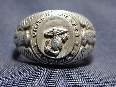 WWII US Marine Corps USMC Officers Ring Sterling Eagle Globe A+ 11 1/4