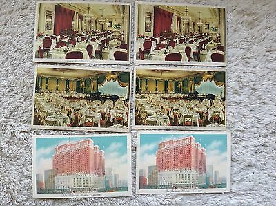 6 Vintage 1943/1946 Postcards Palmer House Hotel & Restaurants  CHICAGO IL