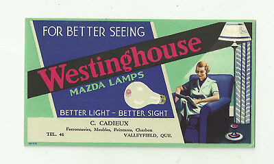 US/Canada Valleyfield Blotter C.Cadieux Westinghouse mazda Lamps