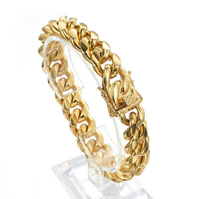 Gold Plated Men Cuban Link Bracelet High Quality Stainless Steel Bangle 14mm