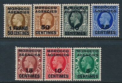 1935-37 Morocco Agencies French Ovpt Part Set Of 7 Fine Mint Mnh Sg216-Sg224