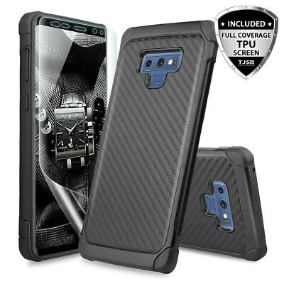 For Samsung Galaxy Note 9 Carbon Fiber Armor Phone Case+Full Coverage TPU Screen