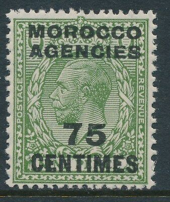 1925-34 MOROCCO AGENCIES 75c on 9d OLIVE-GREEN FRENCH OVPT FINE MINT MNH SG208
