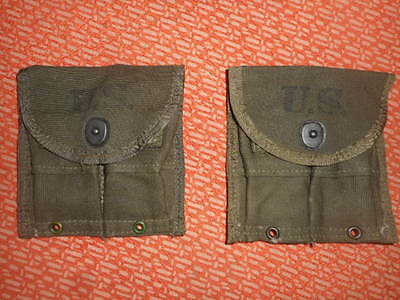 U.S.ARMY: WWII 1945 ,2 (two) SEPARATE MAGAZINE POUCHES,DOUBLE,WEB,CARBINE