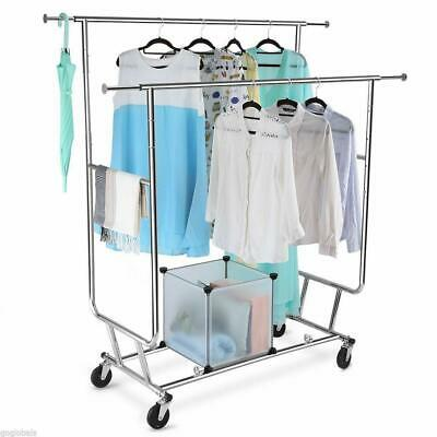 Commercial Heavy Duty Clothing Garment Rolling Collapsible Double-bar Steel