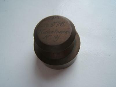 ANTIQUE 1917 BRASS APOTHECARY WEIGHT ENGRAVED 1917 M.J. H. WATERTOWN, NY 175gr