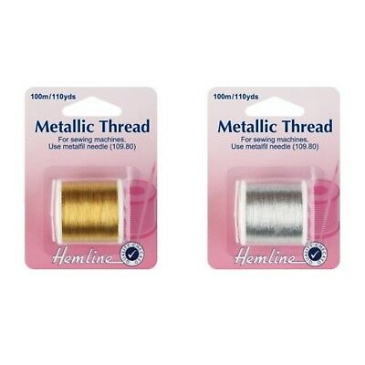 Hemline Metallic Thread for Sewing Machines x 100m - Gold or Silver