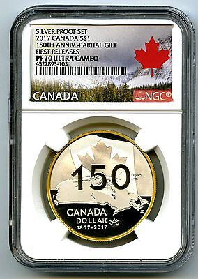2017 Canada $1 Silver Dollar 150Th Gold Gilt Ngc Pf70 First Releases Sold Out